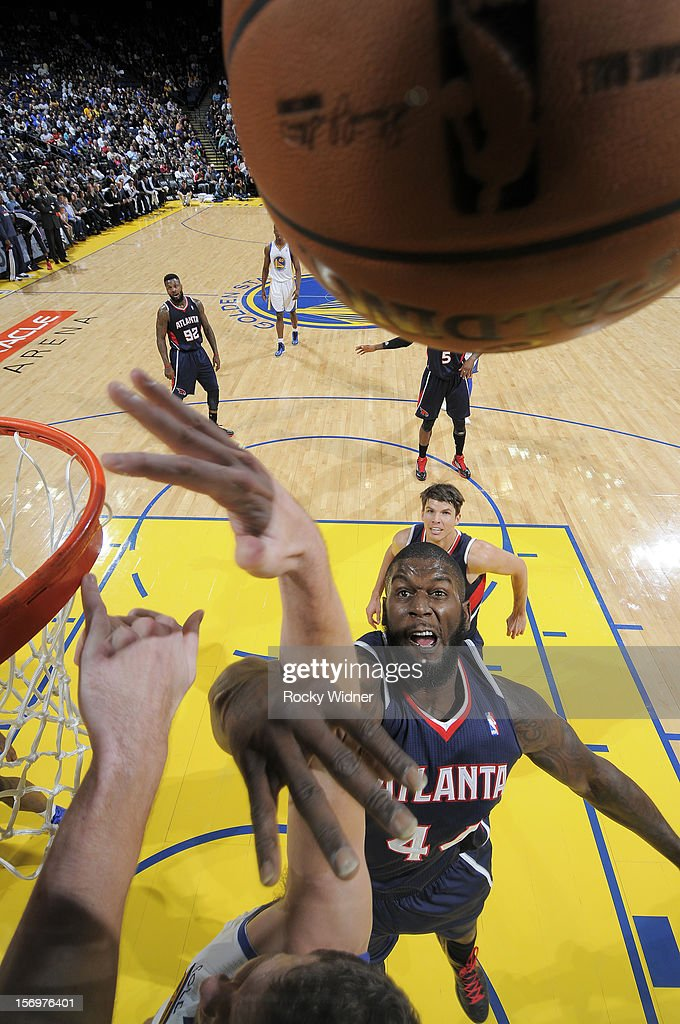 Ivan Johnson #44 of the Atlanta Hawks goes up for the rebound against the Golden State Warriors on November 14, 2012 at Oracle Arena in Oakland, California.