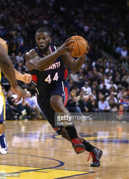 Ivan Johnson of the Atlanta Hawks in action against the Golden State Warriors at Oracle Arena on November 14 2012 in Oakland California NOTE TO USER...