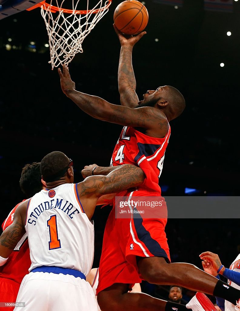Ivan Johnson #44 of the Atlanta Hawks in action against the New York Knicks at Madison Square Garden on January 27, 2013 in New York City. The Knicks defeated the Hawks 106-104.