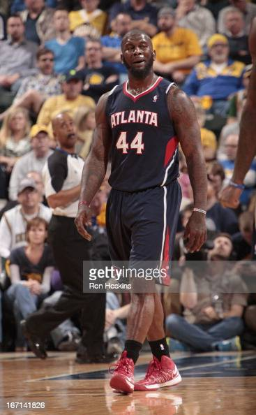 Ivan Johnson of the Atlanta Hawks looks on during the Game One of the Eastern Conference Quarterfinals between the Indiana Pacers and the Atlanta...