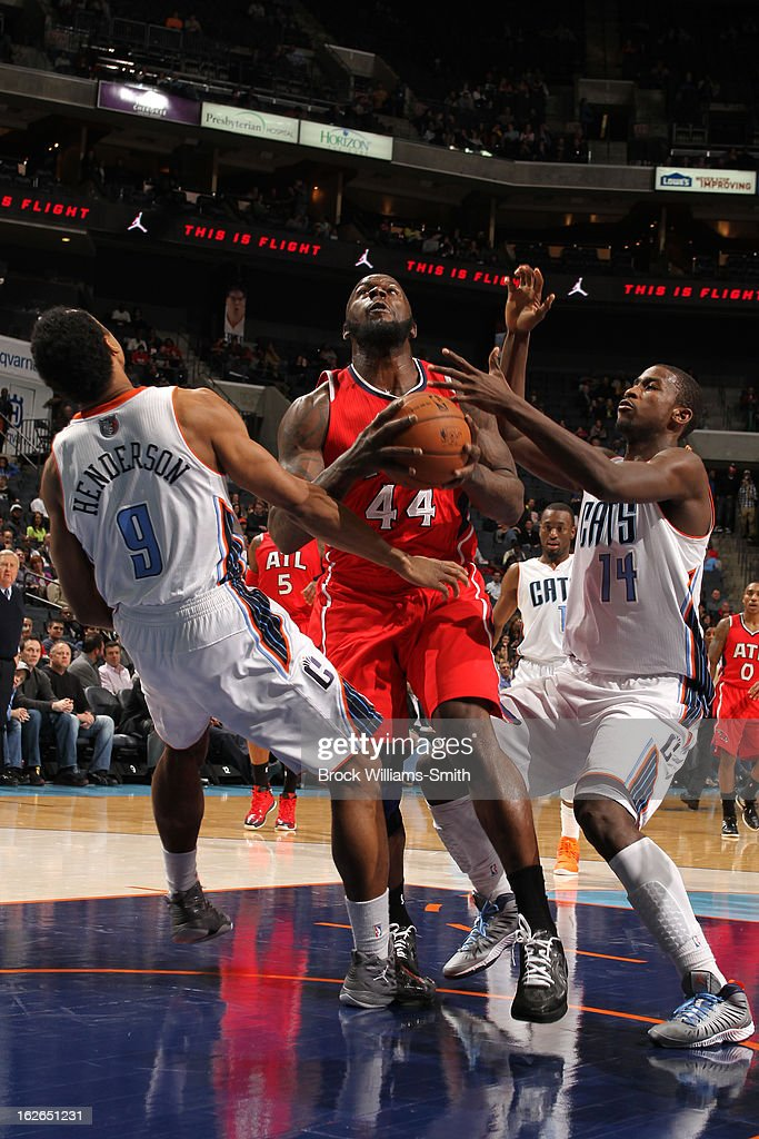 Ivan Johnson #44 of the Atlanta Hawks puts up a shot against the Charlotte Bobcats at the Time Warner Cable Arena on January 23, 2013 in Charlotte, North Carolina.