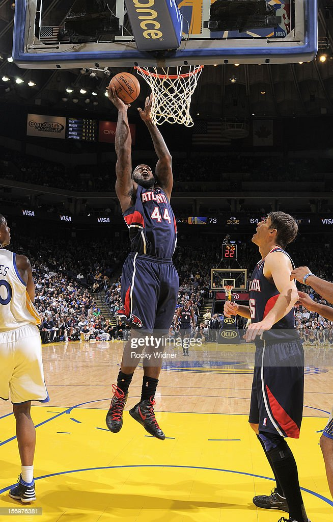Ivan Johnson #44 of the Atlanta Hawks puts up a shot against the Golden State Warriors on November 14, 2012 at Oracle Arena in Oakland, California.