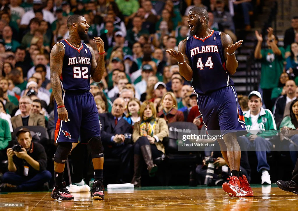 Ivan Johnson #44 of the Atlanta Hawks questions a foul call during action against the Boston Celtics on March 29, 2013 at TD Garden in Boston, Massachusetts.