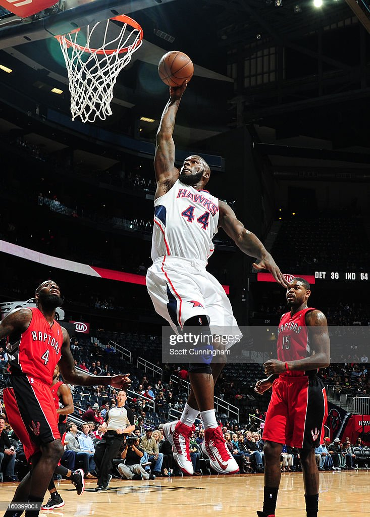 Ivan Johnson #44 of the Atlanta Hawks rises for a dunk against the Toronto Raptors on January 30, 2013 at Philips Arena in Atlanta, Georgia.
