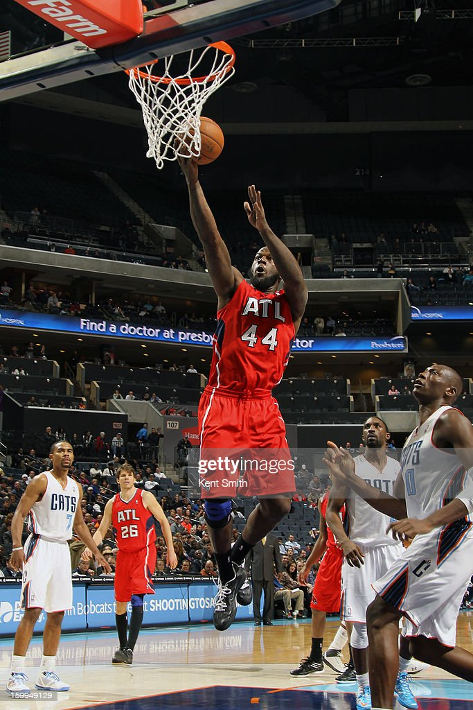 Ivan Johnson #44 of the Atlanta Hawks shoots against the Charlotte Bobcats at the Time Warner Cable Arena on January 23, 2013 in Charlotte, North Carolina.