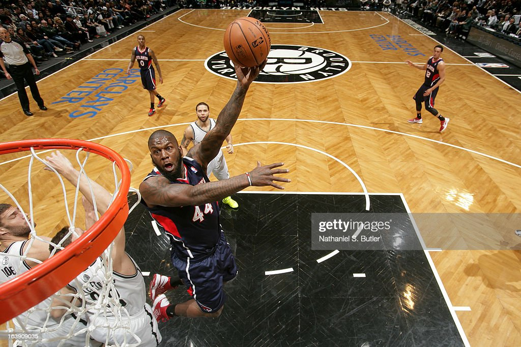 Ivan Johnson #44 of the Atlanta Hawks shoots in the lane against the Brooklyn Nets on March 17, 2013 at the Barclays Center in the Brooklyn borough of New York City.