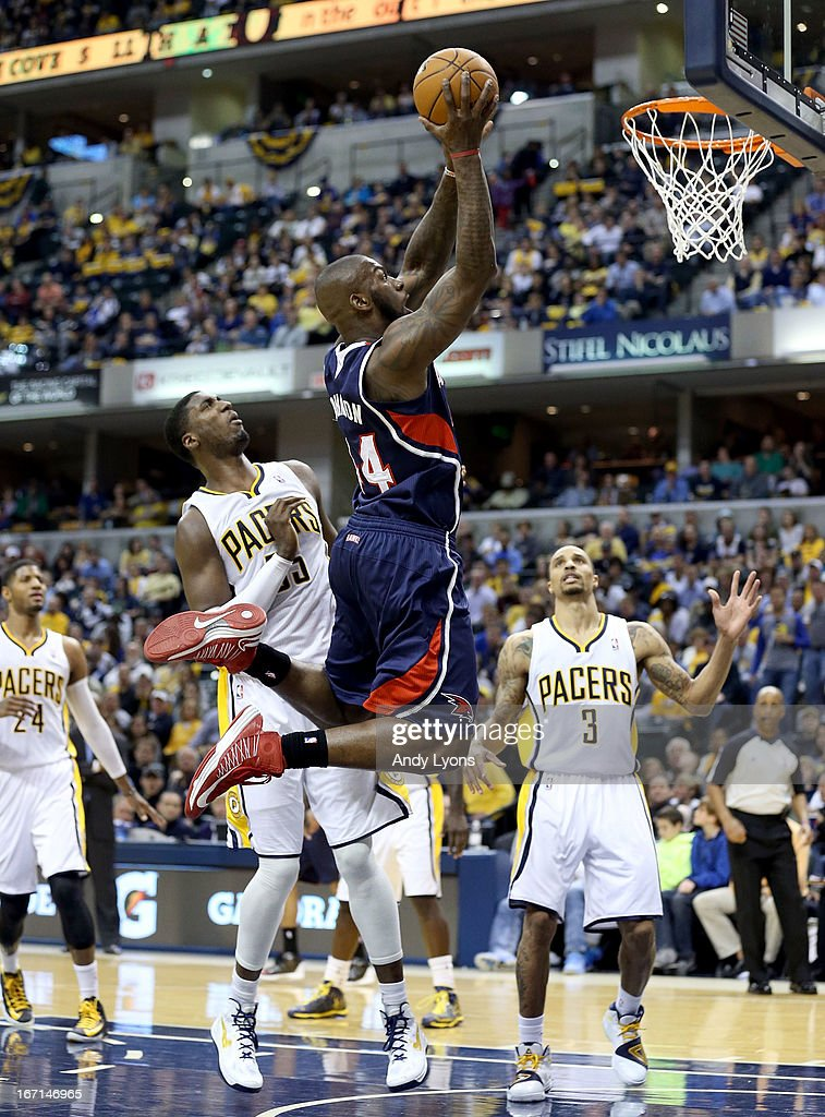 Ivan Johnson #44 of the Atlanta Hawks shoots the ball against the Indiana Pacers during Game One of the Eastern Conference Quarterfinals of the 2013 NBA Playoffs at Bankers Life Fieldhouse on April 21, 2013 in Indianapolis, Indiana.