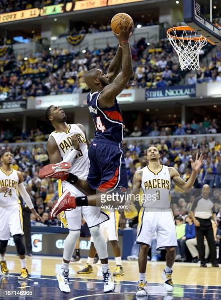 Ivan Johnson of the Atlanta Hawks shoots the ball against the Indiana Pacers during Game One of the Eastern Conference Quarterfinals of the 2013 NBA...