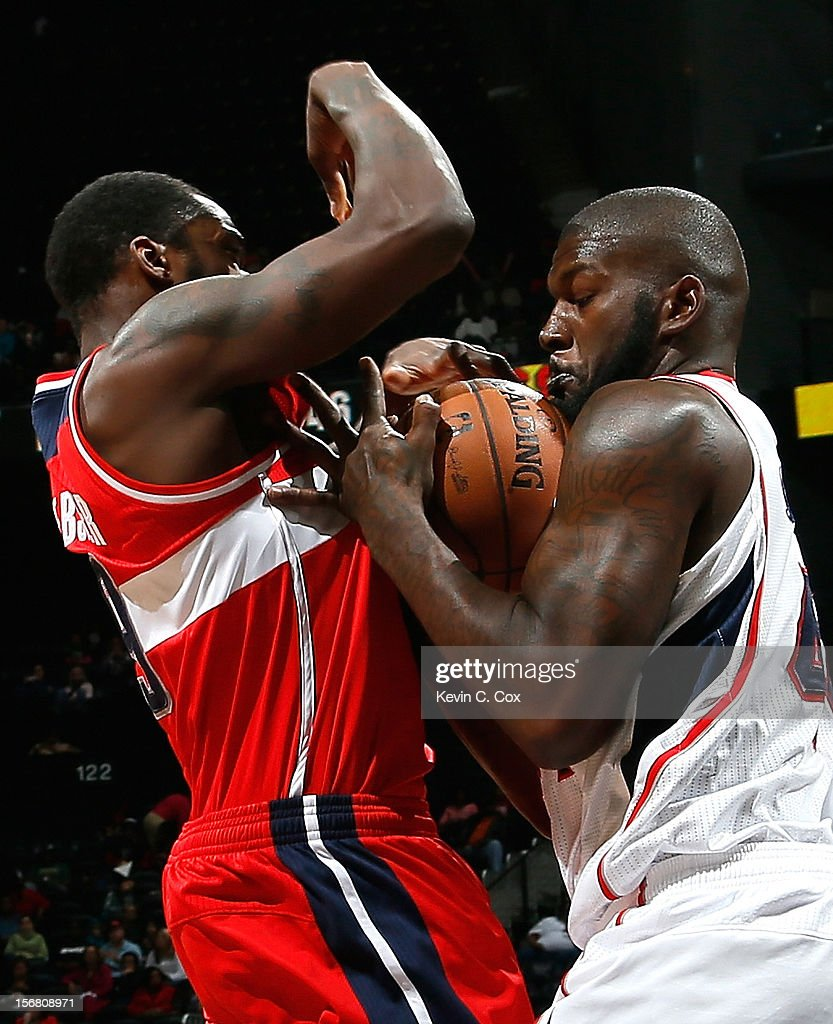 Ivan Johnson #44 of the Atlanta Hawks steals the ball from Martell Webster #9 of the Washington Wizards at Philips Arena on November 21, 2012 in Atlanta, Georgia.
