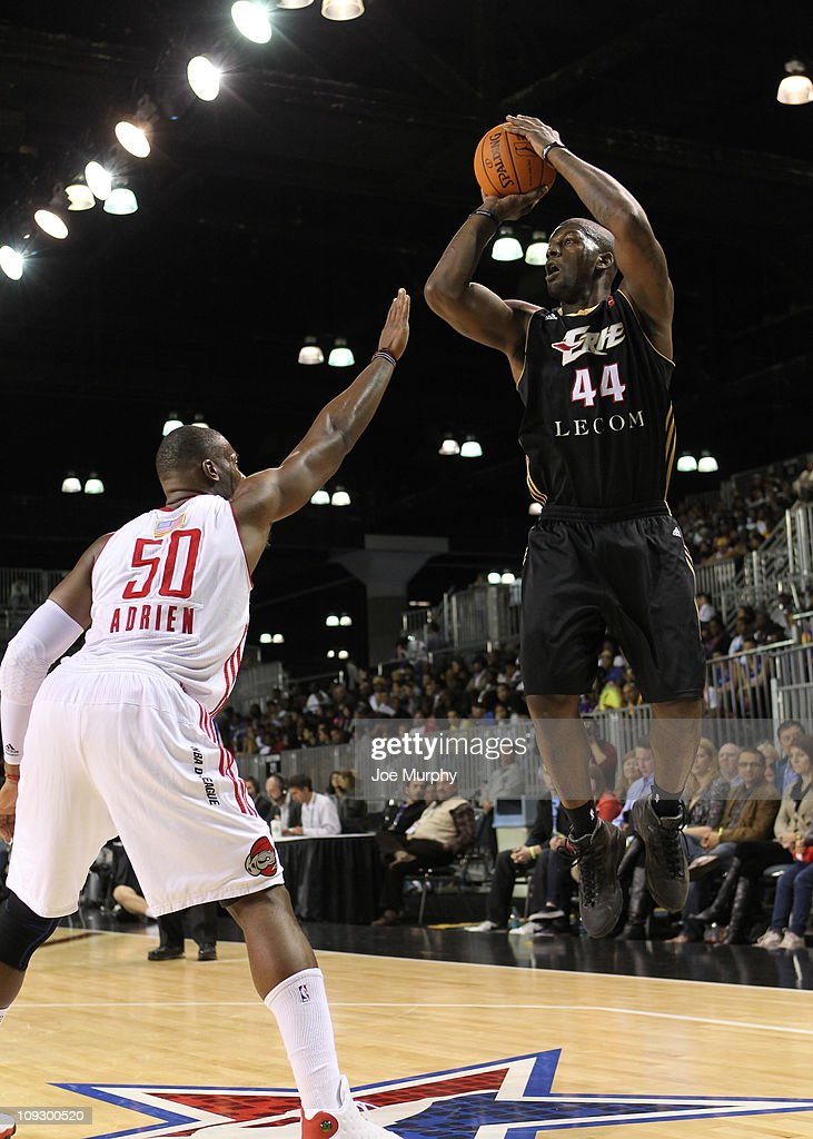 Ivan Johnson #44 of the East All-Stars shoots the ball past <a gi-track='captionPersonalityLinkClicked' href=/galleries/search?phrase=Jeff+Adrien&family=editorial&specificpeople=727235 ng-click='$event.stopPropagation()'>Jeff Adrien</a> #50 of the West All-Stars during the 2011 NBA D-League All-Star Game presented by SonoSite on center court at Jam Session presented by Adidas during NBA All Star Weekend at the Los Angeles Convention Center on February 19, 2011 in Los Angeles, California.