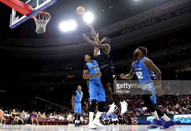 Ivan Johnson of the Ghost Ballers shoots against Jerome Williams of Power during week four of the BIG3 three on three basketball league at Wells...