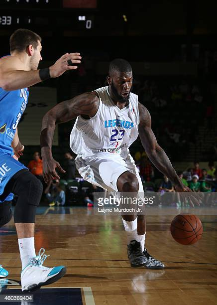 Ivan Johnson of the Texas Legends drives to the basket against the Oklahoma City Blue during an NBDL game on December 5 2014 at the Dr Pepper Arena...