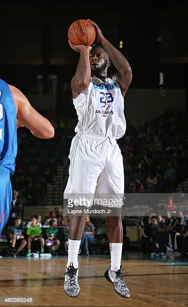 Ivan Johnson of the Texas Legends takes a shot against the Oklahoma City Blue during an NBDL game on December 5 2014 at the Dr Pepper Arena in Frisco...