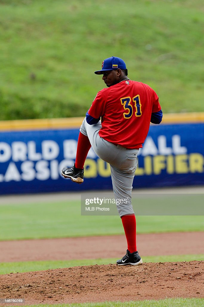 Ivan Julio #31 of Team Colombia pitches during Game 3 of the Qualifying Round of the World Baseball Classic against Team Brazil at Rod Carew National Stadium on Saturday, November 17, 2012 in Panama City, Panama.
