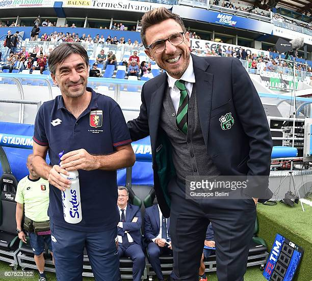 Ivan Juric head coach of Genoa CFC and Eusebio Di Francesco head coach of US Sassuolo prior the Serie A match between US Sassuolo and Genoa CFC at...