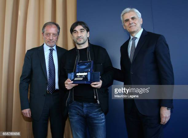Ivan Juric receives the Panchina D'Oro Prize by Renzo Ulivieri and Marcello Nicchi during Italian Football Federation 'Panchine D'Oro E D'Argento'...
