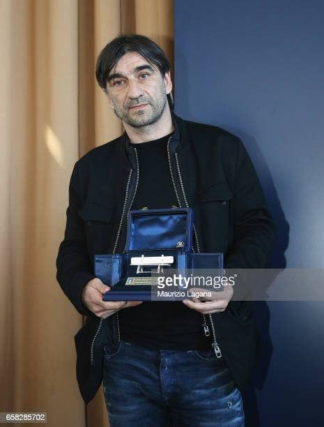 Ivan Juric receives the Panchina D'Oro Prize during Italian Football Federation 'Panchine D'Oro E D'Argento' Prize at Coverciano on March 27 2017 in...