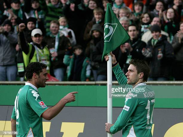 Ivan Klasnic of Bremen celebrates scoring the second gaol with Dusko Tosic during the Bundesliga match between Werder Bremen and 1 FC Nuernberg at...