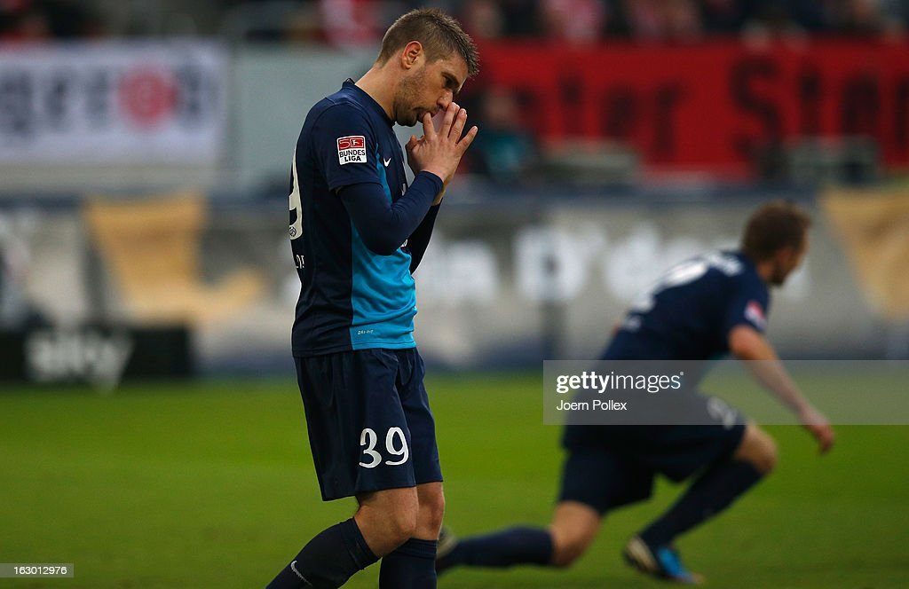 <a gi-track='captionPersonalityLinkClicked' href=/galleries/search?phrase=Ivan+Klasnic&family=editorial&specificpeople=200690 ng-click='$event.stopPropagation()'>Ivan Klasnic</a> of Mainz looks disappointed during the Bundesliga match between Fortuna Duesseldorf 1895 and 1. FSV Mainz 05 at Esprit-Arena on March 3, 2013 in Duesseldorf, Germany.