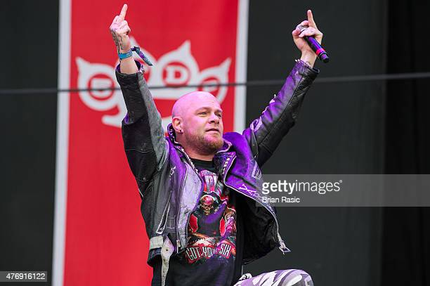 Ivan L Moody of Five Finger Death Punch performs on Day 1 of the Download Festival at Donington Park on June 12 2015 in Castle Donington England