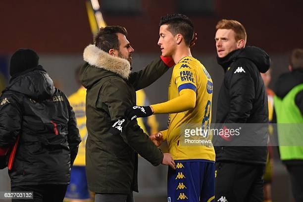 Ivan Leko head coach of STVV Stef Peeters midfielder of STVV during the Jupiler Pro League match between K SintTruidense VV and KV Mechelen on...