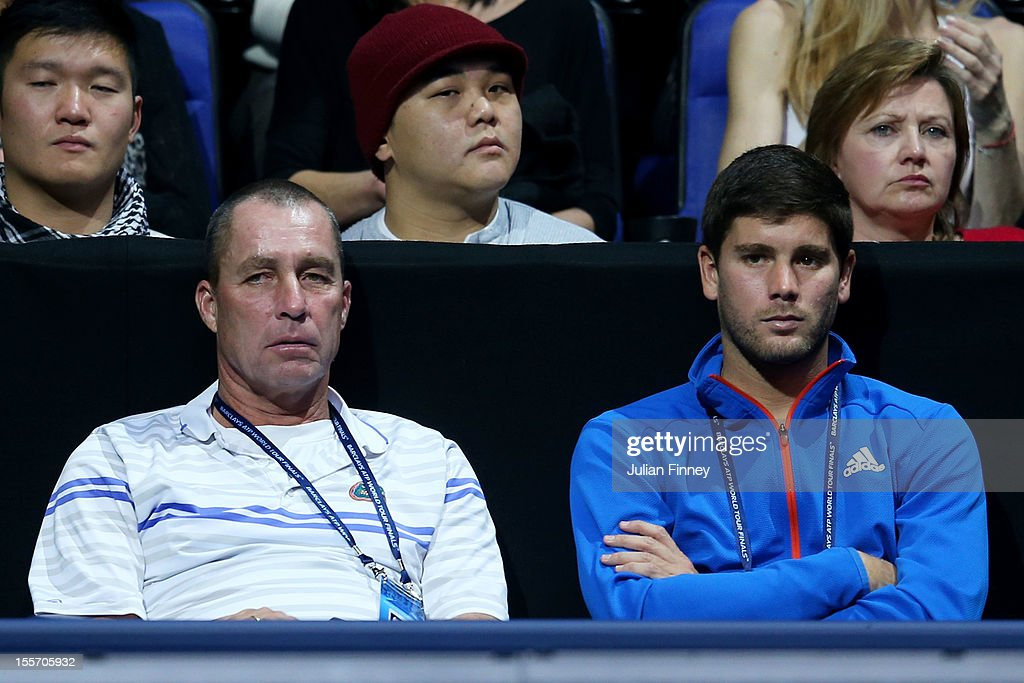 Ivan Lendl and Danny Vallverdu the coaches of Andy Murray of Great Britain look on during the men's singles match against Novak Djokovic of Serbia on day three of the ATP World Tour Finals at the at O2 Arena on November 7, 2012 in London, England.