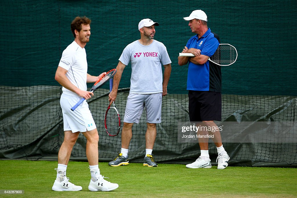 <a gi-track='captionPersonalityLinkClicked' href=/galleries/search?phrase=Ivan+Lendl&family=editorial&specificpeople=242990 ng-click='$event.stopPropagation()'>Ivan Lendl</a> (R) and <a gi-track='captionPersonalityLinkClicked' href=/galleries/search?phrase=Jamie+Delgado&family=editorial&specificpeople=235586 ng-click='$event.stopPropagation()'>Jamie Delgado</a> (C) coaches to <a gi-track='captionPersonalityLinkClicked' href=/galleries/search?phrase=Andy+Murray+-+Tennis+Player&family=editorial&specificpeople=200668 ng-click='$event.stopPropagation()'>Andy Murray</a> of Great Britain (L) look on during a practice session on day one of the Wimbledon Lawn Tennis Championships at the All England Lawn Tennis and Croquet Club on June 26, 2016 in London, England.
