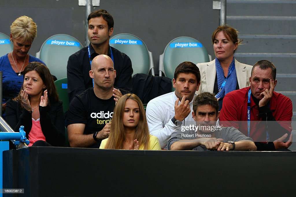 Ivan Lendl (R), coach of Andy Murray, Kim Sears (C), girlfriend of Andy Murray, and Judy Murray, mother of Andy Murray (R) watch Andy Murray of Great Britain and Roger Federer of Switzerland in their semifinal match during day twelve of the 2013 Australian Open at Melbourne Park on January 25, 2013 in Melbourne, Australia.
