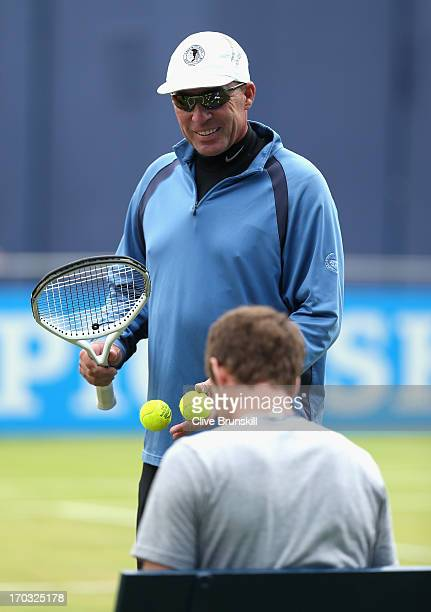 Ivan Lendl coach of Andy Murray of Great Britain looks on during training on day two of the AEGON Championships at Queens Club on June 11 2013 in...