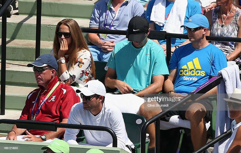 Ivan Lendl coach of Andy Murray of Great Britain watches as he loses the first set 6-2 against David Ferrer of Spain (sitting left second row is Murrays girlfriend Kim Sears) during their final match at the Sony Open at Crandon Park Tennis Center on March 31, 2013 in Key Biscayne, Florida.