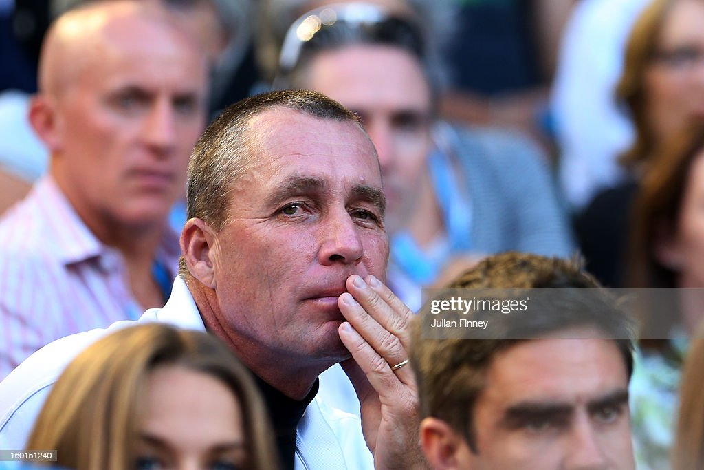 Ivan Lendl, coach of Andy Murray watches the mens final between Andy Murray of Great Britain and Novak Djokovic of Serbia during day fourteen of the 2013 Australian Open at Melbourne Park on January 27, 2013 in Melbourne, Australia.