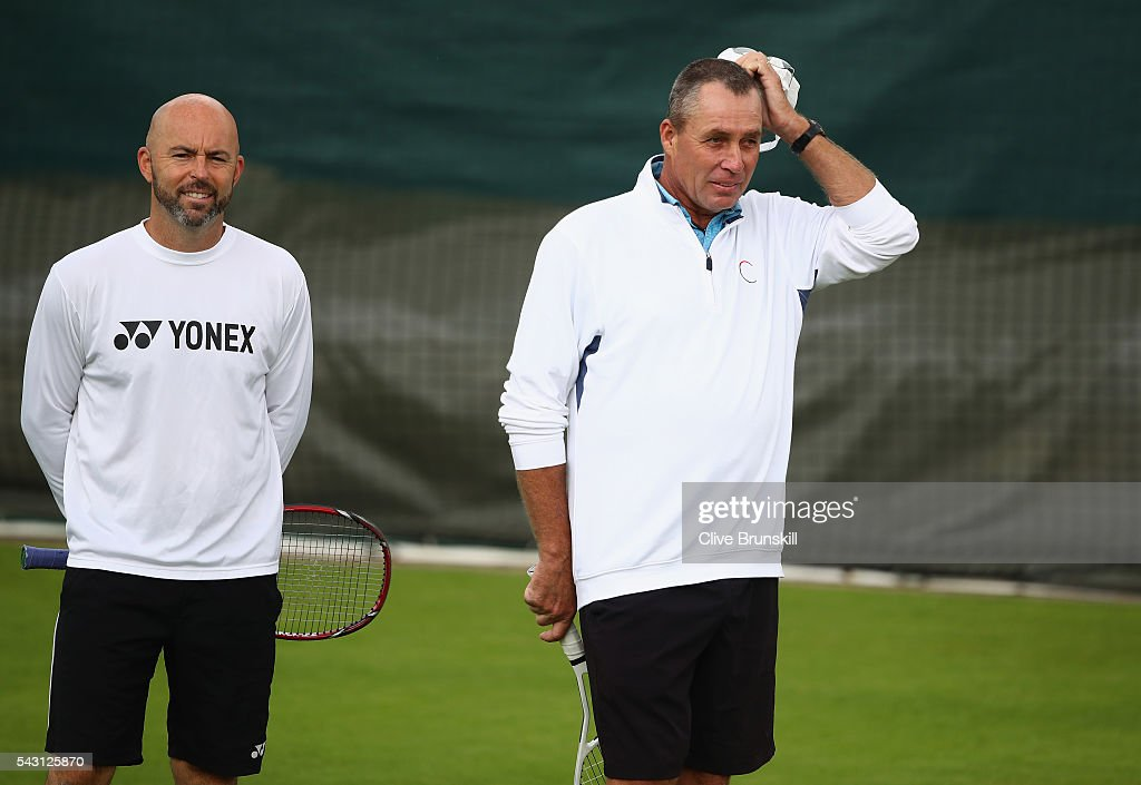<a gi-track='captionPersonalityLinkClicked' href=/galleries/search?phrase=Ivan+Lendl&family=editorial&specificpeople=242990 ng-click='$event.stopPropagation()'>Ivan Lendl</a> coach of Andy Murray with Jamie Delgardo during a practice session prior to the Wimbledon Lawn Tennis Championships at the All England Lawn Tennis and Croquet Club on June 26, 2016 in London, England.