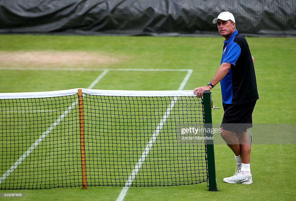 <a gi-track='captionPersonalityLinkClicked' href=/galleries/search?phrase=Ivan+Lendl&family=editorial&specificpeople=242990 ng-click='$event.stopPropagation()'>Ivan Lendl</a>, coach to Andy Murray of Great Britain looks on during a practice session on day one of the Wimbledon Lawn Tennis Championships at the All England Lawn Tennis and Croquet Club on June 26, 2016 in London, England.