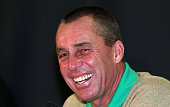 Ivan Lendl in good spirits as he talks to the press during a special press conference with the 1980 Czechoslovakian winning Davis Cup team during day...