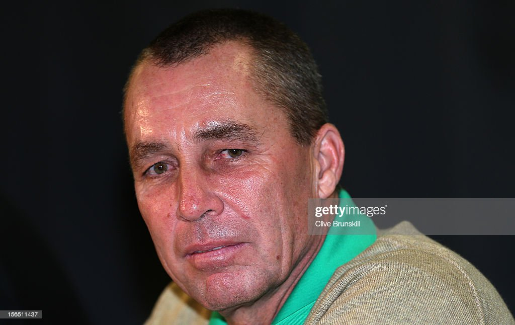Ivan Lendl listens to a question from the press during a special press conference with the 1980 Czechoslovakian winning Davis Cup team during day one prior to the final Davis Cup match between Czech Republic and Spain at the 02 Arena on November 16, 2012 in Prague, Czech Republic.