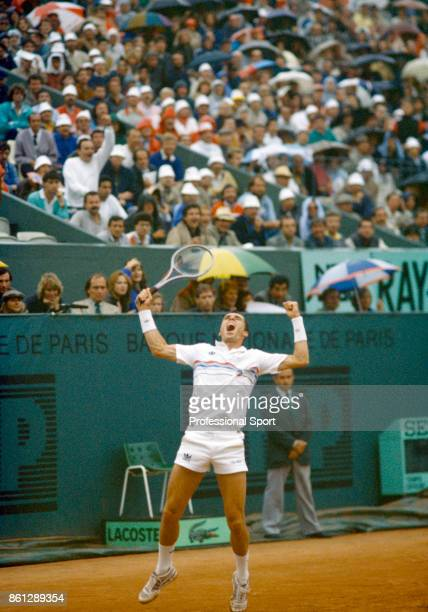 Ivan Lendl of Czechoslovakia celebrates after defeating Mats Wilander of Sweden to win the French Open Tennis Championships at the Stade Roland...