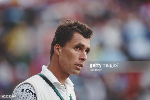 Ivan Lendl of Czechoslovakia during his second round match against Grant Connell at the Stella Artois Tennis Championship on 12 June 1991 at the...