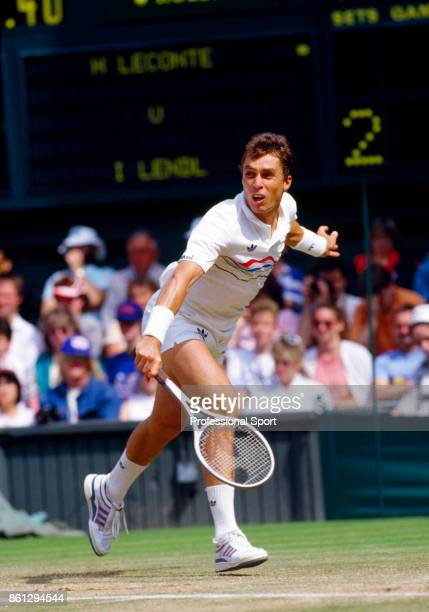 Ivan Lendl of Czechoslovakia in action against Henri Leconte of France in their quarterfinal match during the Wimbledon Lawn Tennis Championships at...