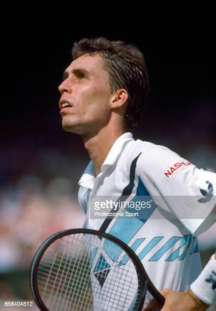 Ivan Lendl of Czechoslovakia in action against Henri Leconte of France during their Fourth Round match in the Wimbledon Lawn Tennis Championships at...