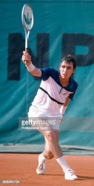 Ivan Lendl of Czechoslovakia in action during the French Open Tennis Championships at the Stade Roland Garros circa May 1981 in Paris France