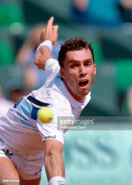 Ivan Lendl of Czechoslovakia in action during the French Open Tennis Championships at the Stade Roland Garros circa May 1985 in Paris France