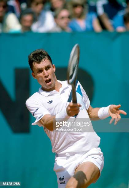 Ivan Lendl of Czechoslovakia in action during the French Open Tennis Championships at the Stade Roland Garros circa May 1986 in Paris France