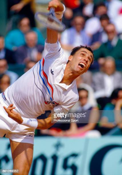 Ivan Lendl of Czechoslovakia in action during the French Open Tennis Championships at the Stade Roland Garros circa May 1987 in Paris France