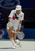 Ivan Lendl of Czechoslovakia makes a back hand retun to Boris Becker during the Men's Singles Final of the Australian Open on 27 January 1991 in...