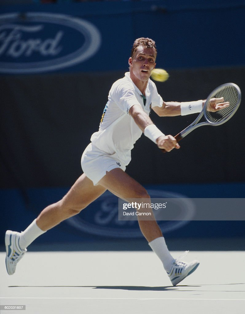 Ivan Lendl of Czechoslovakia makes a back hand retun to Miloslav Mecir during the Men's Singles Final of the Australian Open on 29 January 1989 in...