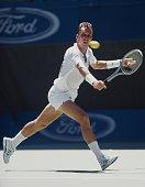 Ivan Lendl of Czechoslovakia makes a back hand retun to Miloslav Mecir during the Men's Singles Final of the Australian Open on 29 January 1989 in...