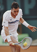 Ivan Lendl of Czechoslovakia makes a back hand return against Mats Wilander during the Men's Singles Final match at the French Open Tennis...