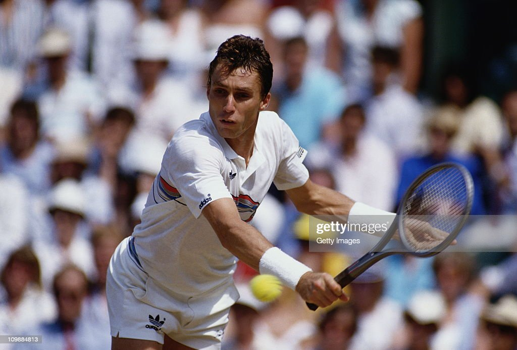 Ivan Lendl of Czechoslovakia reaches to make a return against Pat Cash during their Men's Singles Final match at the Wimbledon Lawn Tennis...