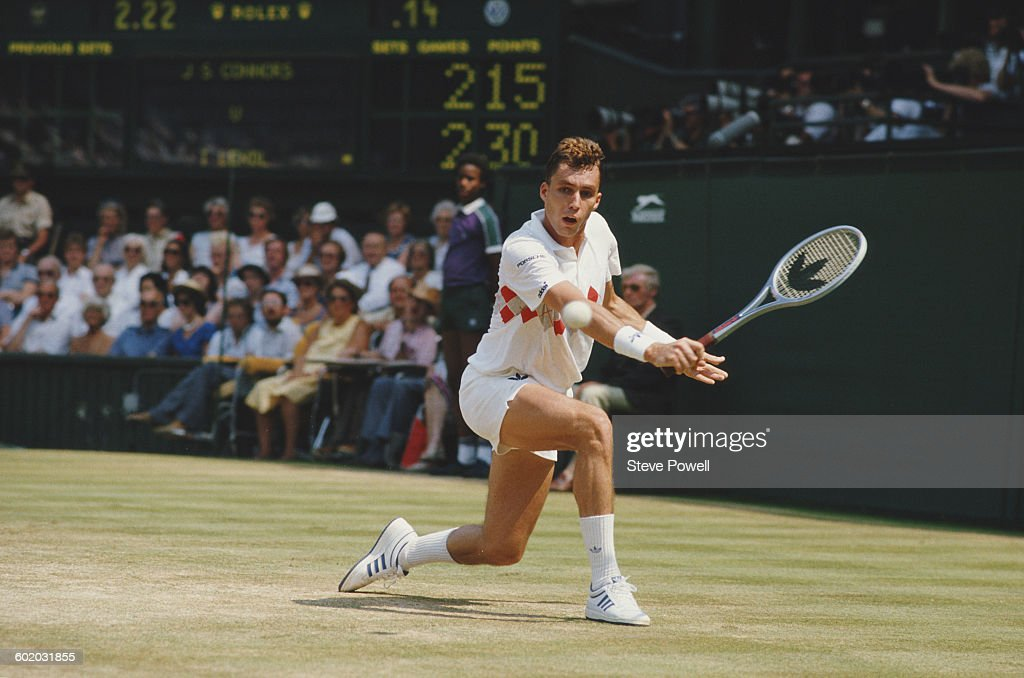 Ivan Lendl of Czechoslovakia returns against Jimmy Connors during their Men's Singles Semi Final of the Wimbledon Lawn Tennis Championship on 6 July...