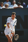 Ivan Lendl of Czechoslovakia returns against Mikael Pernfors during the Men's Singles Final match at the French Open Tennis Championship on 8 June...